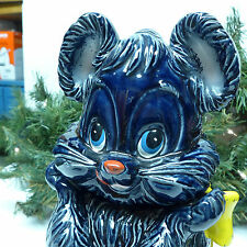 VINTAGE ENESCO MOUSE COOKIE JAR NAVY BLUE YELLOW BOW W/ ORGINAL FOIL STICKER