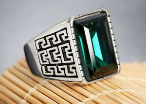 Men Green Rhinestone Great Wall Silver Titanium Stainless Steel Ring  8-12