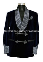 Men Smoking Jacket Bilberry Velvet Quilted Shawl Lapel Blazer Coat Jackets UK