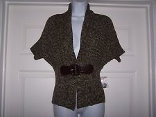No Boundaries Women's Cable Knit Cardigan M 7-9 Brown/Beige Short Sleeve NWOT
