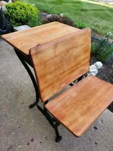 Antique Child's School Desk Oak Wood & Black Cast Iron #1