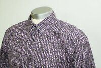 Ted Baker PASHION Purple Floral Mens Long Sleeve French Cuff Dress Shirt 16.5