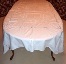 "Vintage 1950's white Hand Embroidered & Crocheted Lace 84"" X 64"" Tablecloth"