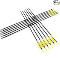 "6pcs 28"" Archery Target 7mm Fiberglass Arrows Vanes Sports Hunting"
