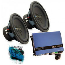 "Soundstream Double 30cm 12"" Sub woofer Bass Box Amplifier car audio Package Deal"