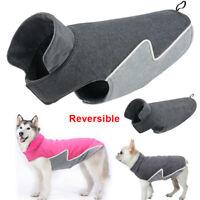 Winter Dog Coat Warm Fleece Dog Jacket Reversible Vest for Small to Large Dogs