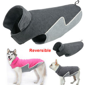 Winter Dog Coat Warm Fleece Dog Jacket Reversible Vest for Small to Large Dogs