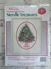 Williamsburg Counted Cross Stitch Folk Art Christmas Tree Picture KIT NIP Sealed