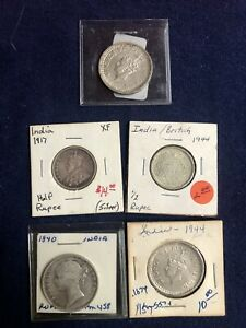 Lot 96: India 1/2 Rupee and Rupee Lot (1840 - 1945) - 5 Coins - High Quality !!