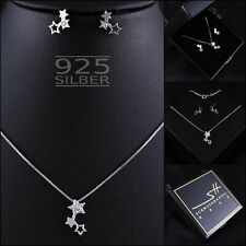 Stern Schmuckset Kette Ohrringe 925 Sterling Silber Damen ❤ Swarovski® Kristalle