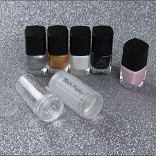 Nail Art Stamping Set Stamp Polish & Peel Off Liquid Tape & Stamper Scraper DIY