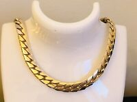"""Chunky Chain Link Necklace - Gold Tone Mixed Metal - Costume Jewellery - 19"""""""