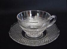 Set Of 4 CAMBRIDGE MT.VERNON Depression Era Elegant Glass CUPS & SAUCERS