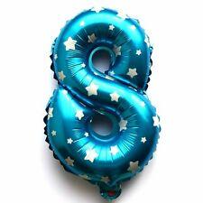 not Helium balloon Folienballon Zahl 8 Geburtstag Blau Stern Zahlen Jubiläum NEU