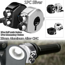 CNC Latch & Momentary Switch Handlebar 3 Buttons Silver for Motorcycle Cafe Race