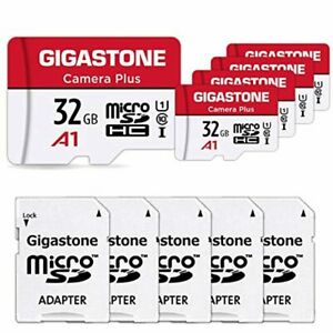 Gigastone 32GB 5-Pack Micro SD Card with Adapter, U1 C10 Class 10 90MB/S, Full H