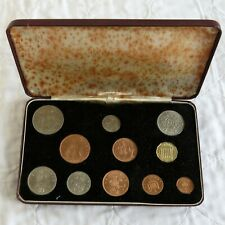 More details for qeii 1968 first and second issue 11 coin specimen set -  dated maroon case