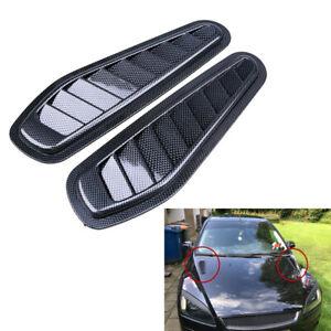 2x ABS Race Car Hood Scoop Carbon Style Bonnet Air Vent Decorative Accessory