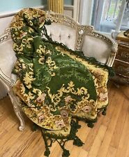 Antique French 1800's Victorian Chenille Portiere Piano Scarf Throw Pink Roses