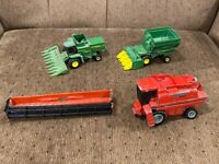 Lot of ERTL 1/64 and 1/80 John Deere and Case IH farm toys for parts or custom
