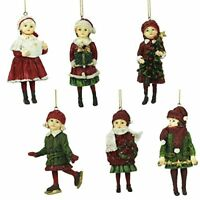 Set of 6 Victorian Children Traditional Christmas Tree Decorations (11cm)