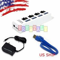 White 4 Port USB 3.0 Hub On/Off Switches + AC Power Adapter Cable for PC Laptop