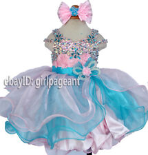 Infant/toddler/baby Lace Floral Crystals Bows pageant Dress 3T G266-3