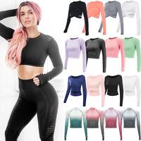 Seamless Women Yoga Gym Crop Top Long Sleeve T-Shirt Crosscriss Fitness Athletic