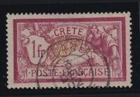 """France (Offices in Crete) Sc #13 (1902-3) - 1fr Merson Used """"La Canée"""" CDS"""