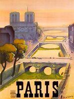 Paris River Seine Dusk Notre Dame France Vintage Travel Advertisement Poster