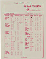 #MISC-0095 - 1968 HOHNER GUITAR STRING CATALOG PRICE LIST