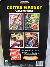 "VALENTINES DAY 16 CARDS """"GUITAR YOU ROCK""""  WITH 16 GUITAR MAGNETS 4 DESIGNS"
