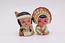 Vtg Native American Toddler Little Boy Girl Indian Salt Pepper Shaker Figures