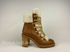 New CHRISTIAN LOUBOUTIN Yetita 70 Brown Calf Leather Shearling Heel Combat Boots