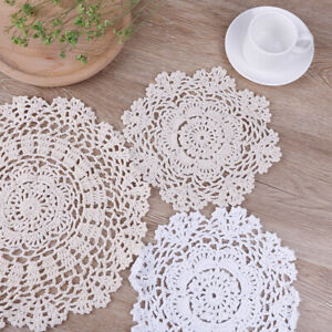 Christmas Hand Crochet Cotton Placemat Table Place Mat Pad Coaster Pot Cup Pa&SU
