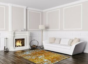 5' x 8' Rug | Hand Woven White Gold Bamboo Silk Area Rug