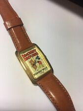 Mickey Mouse Steamboat Willie Poster Lorus Watch Brown Leather Band