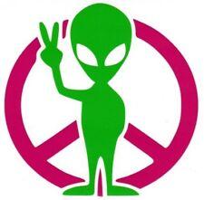 Green Alien Pink Peace Sign Car Truck Suv vinyl sticker decal
