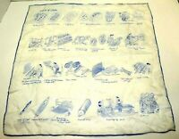 """Vintage The Story Of Silk Hand Rolled Scarf White & Blue Trimmed 17"""" X 17"""" Sheer"""