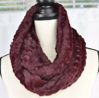 Calvin Klein Womens Cranberry Red Faux Fur Infinity Loop Cowl Scarf $68 New NWT