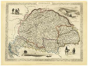 Old Vintage Map of Hungary richly illustrated Tallis 1851