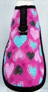 Hot Pink Flannel Hearts Dog Harness Clothes Coat