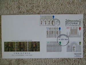 1989 CHRISTMAS GPO FIRST DAY COVER, GLOUCESTER CATHEDRAL SLOGAN PMK