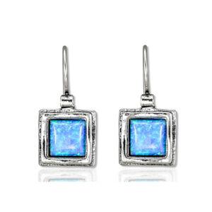 Shablool Sterling Silver 925 Earrings Light Blue Opal Unique Gift Friendship New
