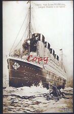 RMS TITANIC WORLD'S LARGEST STEAMSHIP SHIP VINTAGE POSTCARD COPY