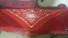 Antique Chinese Hand Embroidery Piano  cape shawl  165by71+Fringe43 cm red&white