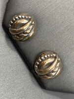 925 Sterling Silver Pierced Earring  Domed Nicely Detailed Puffy Round Post