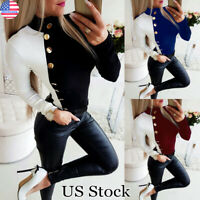 Women High Neck Button T Shirt Tops Ladies Long Sleeve Casual Slim Casual Blouse