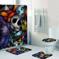 The Nightmare Before Christmas Bathroom Mat Shower Curtain Toilet Lid Cover Rug