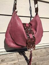 Bekaloo Leather Hobo Hippie Slouch Bag - Crossbody/Shoudler - Distressed Purple